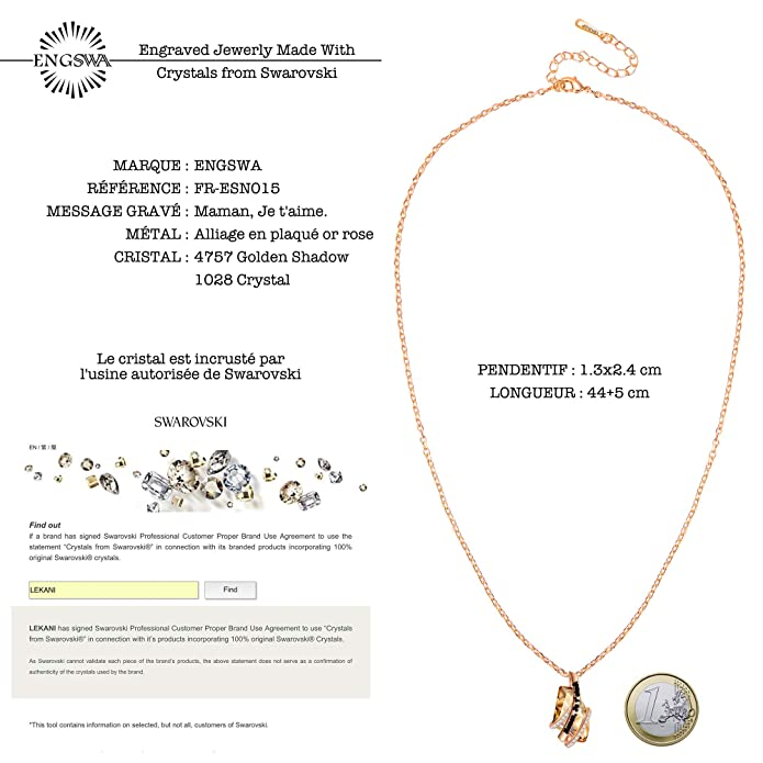 eb1fd843d43d4 ENGSWA Collier Femme Gravé Cristaux Asymétrique Pendentif Classique Cadeau  pour Maman: Amazon.fr: Bijoux