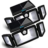 TBI Security Solar Lights Outdoor 216 LED 2200LM, 6500K - Extra-Wide Adjustable 360° 3 Heads with 3 Modes,Wireless Motion Sen