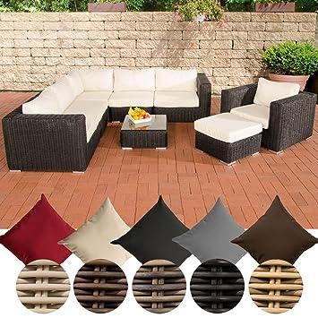 Lounge sofa rund  CLP Poly-Rattan Lounge Set ARIANO, 5 mm RUND-Geflecht, Alu-Gestell ...