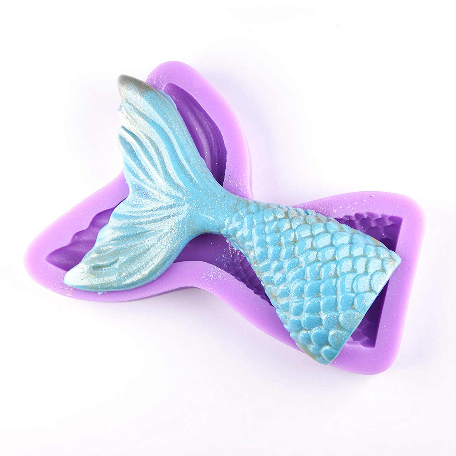 Silicone Fondant Molds with High Definition Sugarcraft Candy Quality Cupcake DIY Topper Cake Decoration Birthday Party Tool for Decorating Cakes Tasty Molds Large Mermaid Tail Mold Chocolate