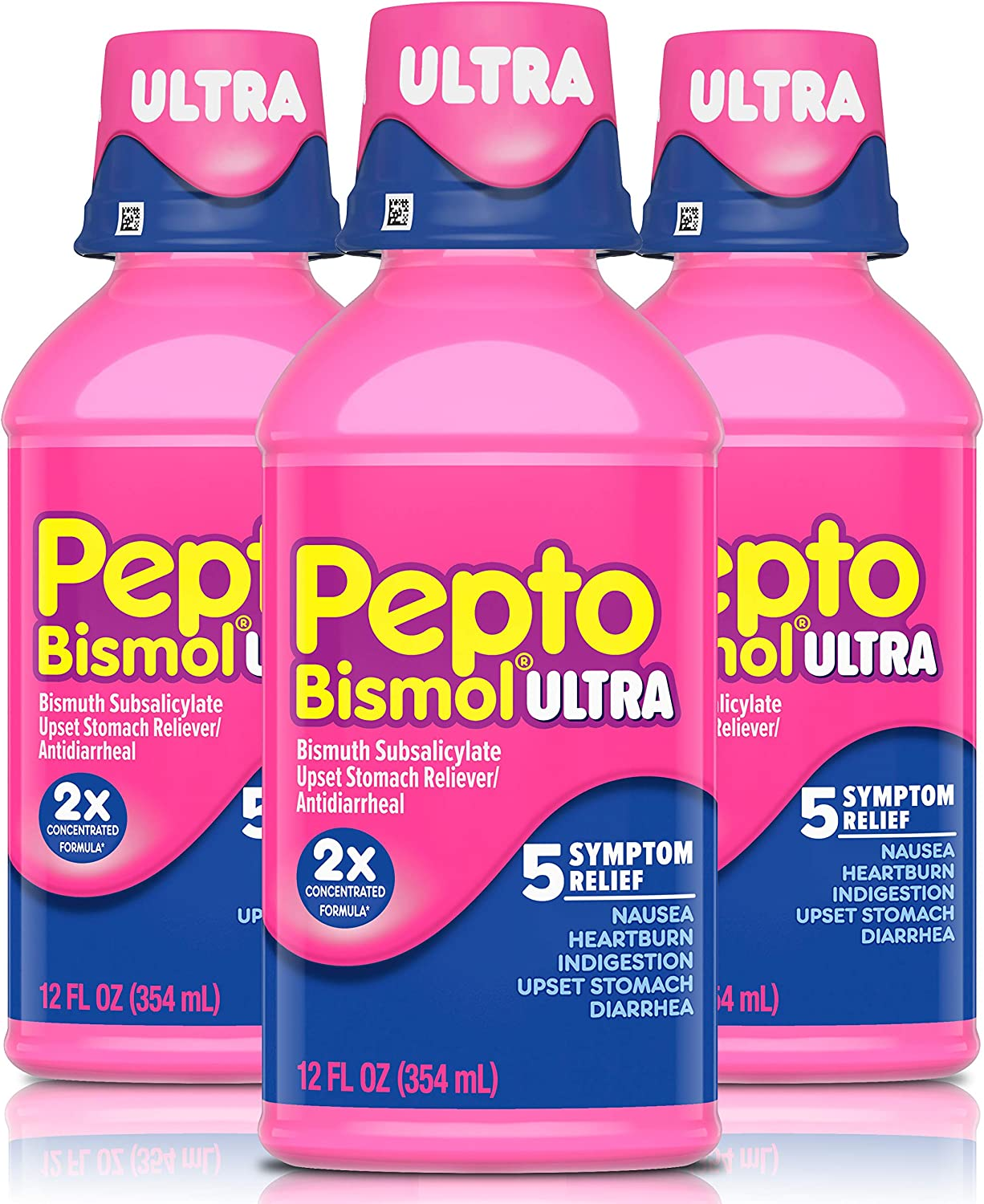 Pepto Bismol Ultra Liquid, Cherry Flavor, 3 Pack of 12 fl oz, for Relief of Gas, Anti Diarrhea, Heartburn, Nausea, Upset Stomach, and Indigestion (36 oz. Total): Health & Personal Care