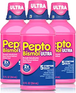 Pepto Bismol Ultra Liquid, Cherry Flavor, 3 Pack of 12 fl oz, for Relief of Gas, Anti Diarrhea, Heartburn, Nausea, Upset Stomach, and Indigestion (36 oz. Total)