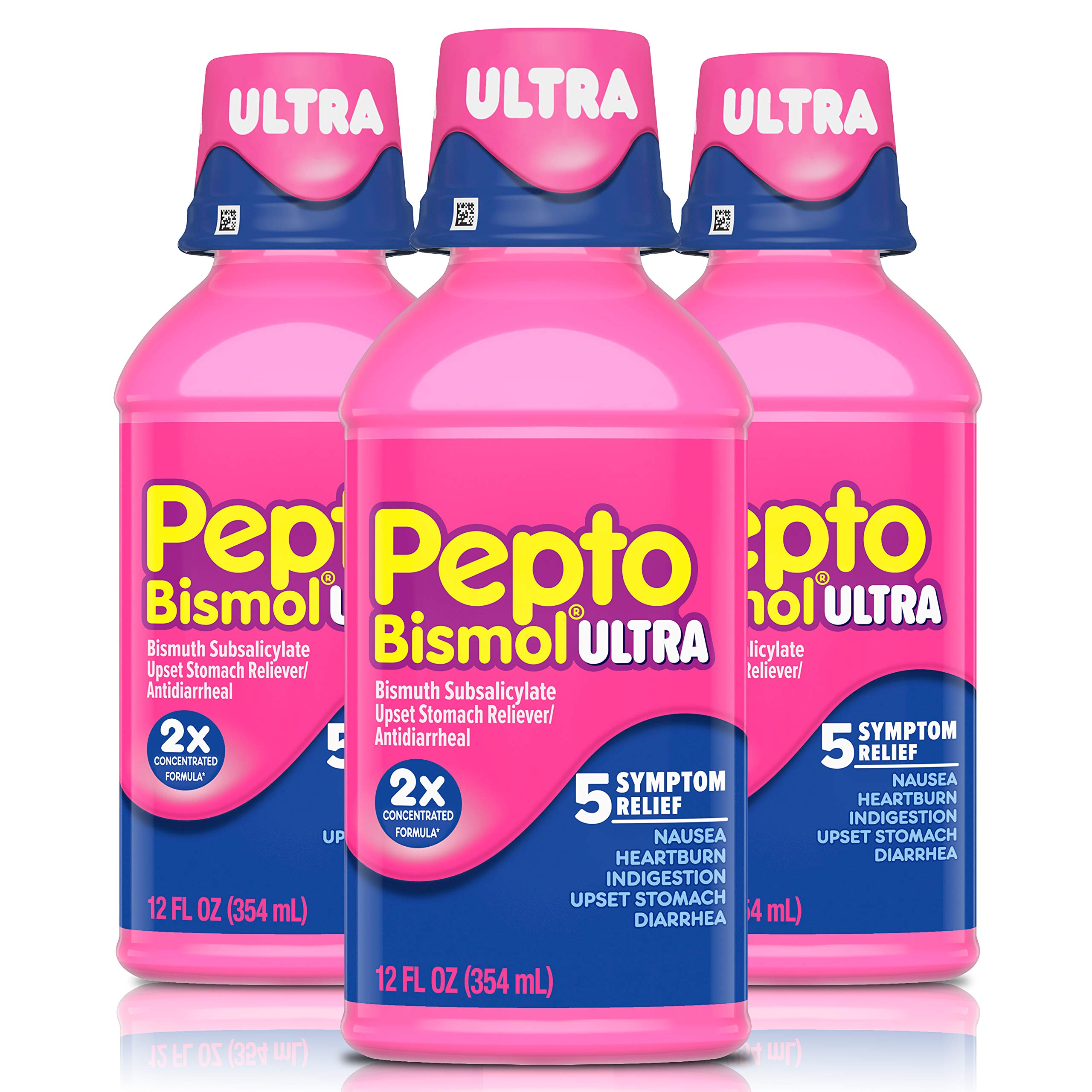 Pepto Bismol Liquid Ultra, Cherry Flavor, 12 fl oz, 3 Pack, Nausea, Heartburn, Indigestion, Upset Stomach, and Diarrhea Relief