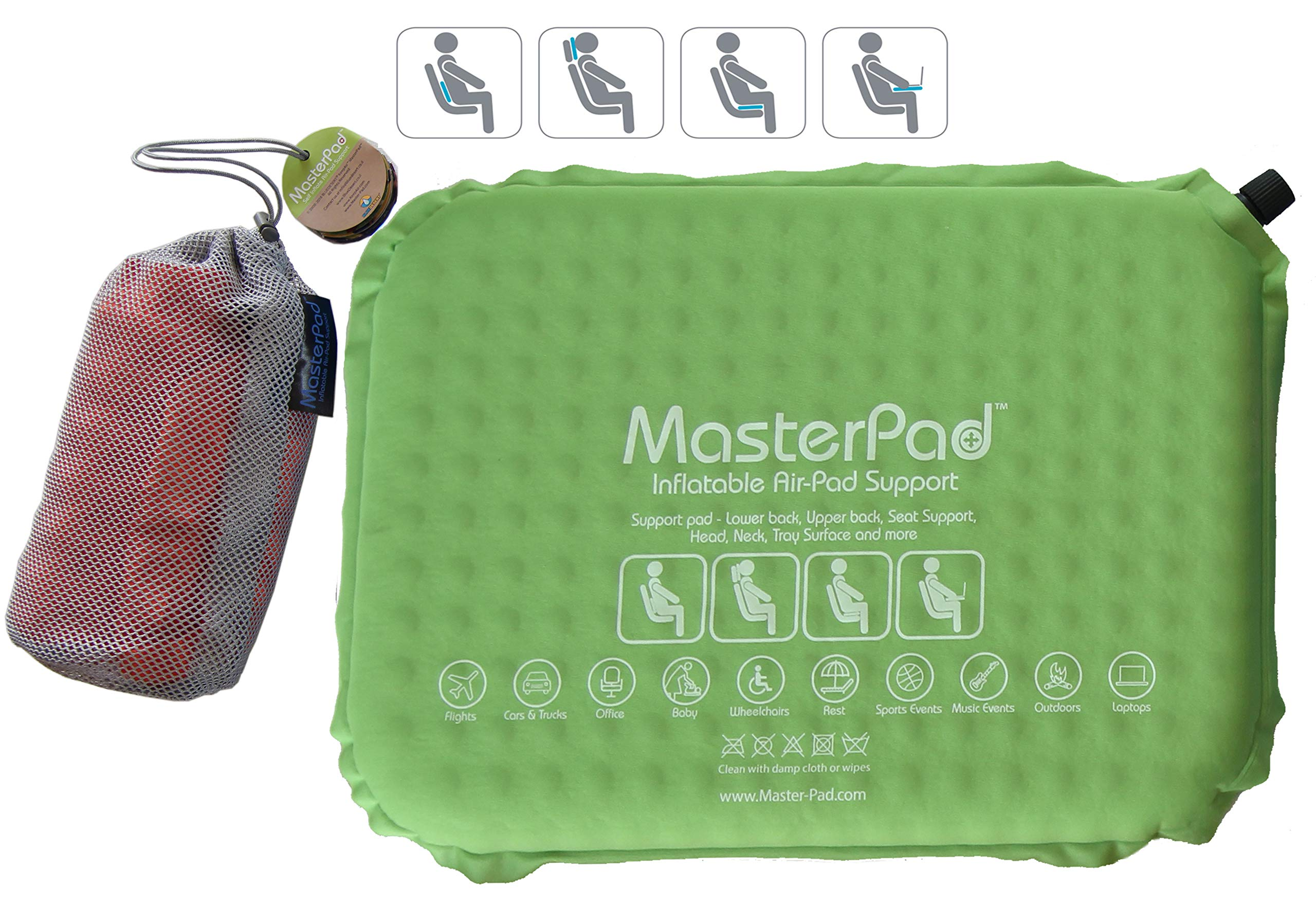 Master Pad Lumbar Support Self-Inflatable Pillow Travel, Home Office. This Back Relief - Cushion is Lightweight, Rolls up is Portable Easy Carrying. Padded. Cotton Feel. (Apple Green)