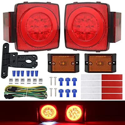WoneNice LED Submersible Trailer Tail Light Kit, Combined Brake, Tail, Turn Signals, Marker, Reflector, and License Plate Light Function, DOT Compliance, IP68 Waterproof: Automotive