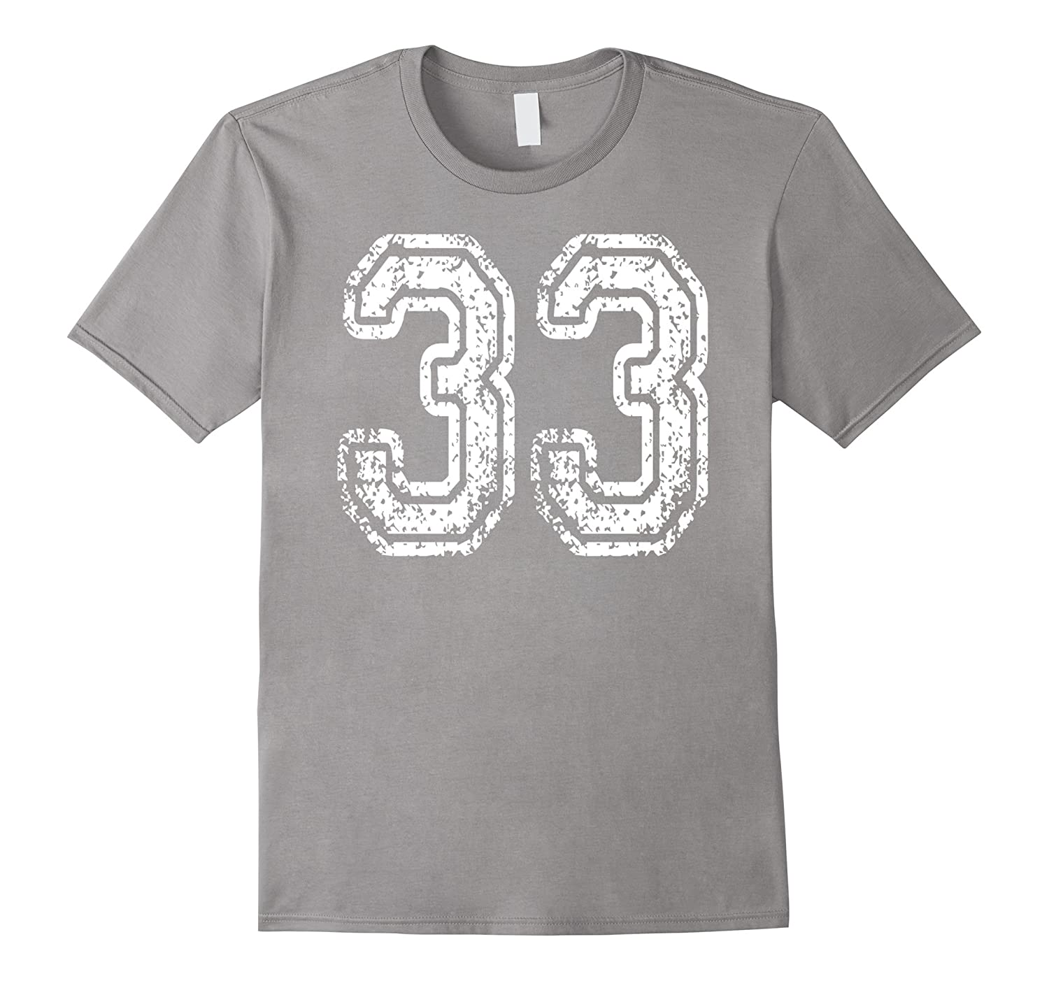 #33 Grungy Numbered Sports Team T-Shirts printed both sides-4LVS
