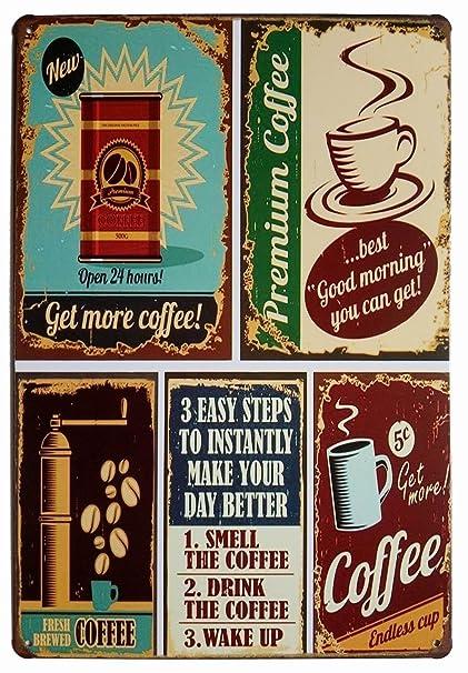 Amazon Com Premium Coffee Metal Tin Sign Vintage Style Wall