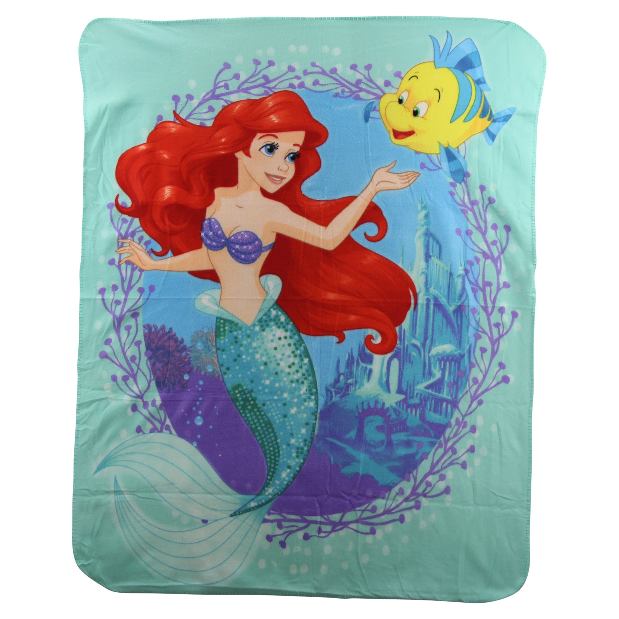 S.L. Home Fashions Little Mermaid Ariel & Flounder Kids Character Lightweight Fleece Throw Blanket by S.L. Home Fashions