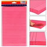 PIGLOO Self-Stick Sticky Note Pad, Ruled, 8.5 x 5 inch, 100 Sheets, Pink
