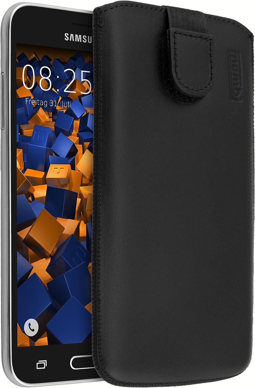 mumbi Bolso de Cuero Real Compatible con Samsung Galaxy J3 (2016), (Pestaña con función de retracción, Auxiliar de extracción), Negro