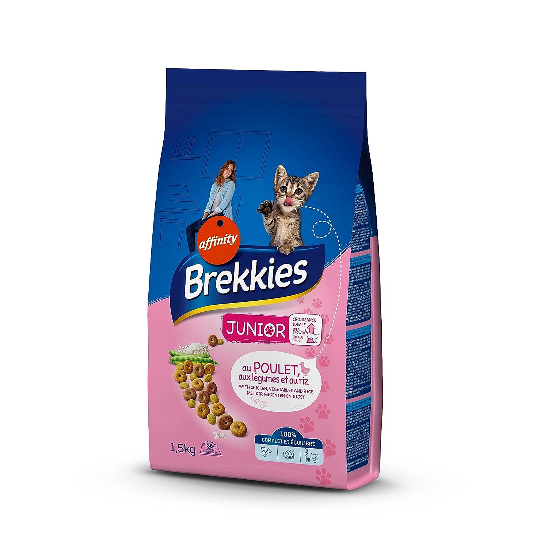 Brekkies Excel Croquettes pour Chat Junior (1-12 Mois) Poulet, Riz et Lait 1,5 kg - Lot de 6 649219