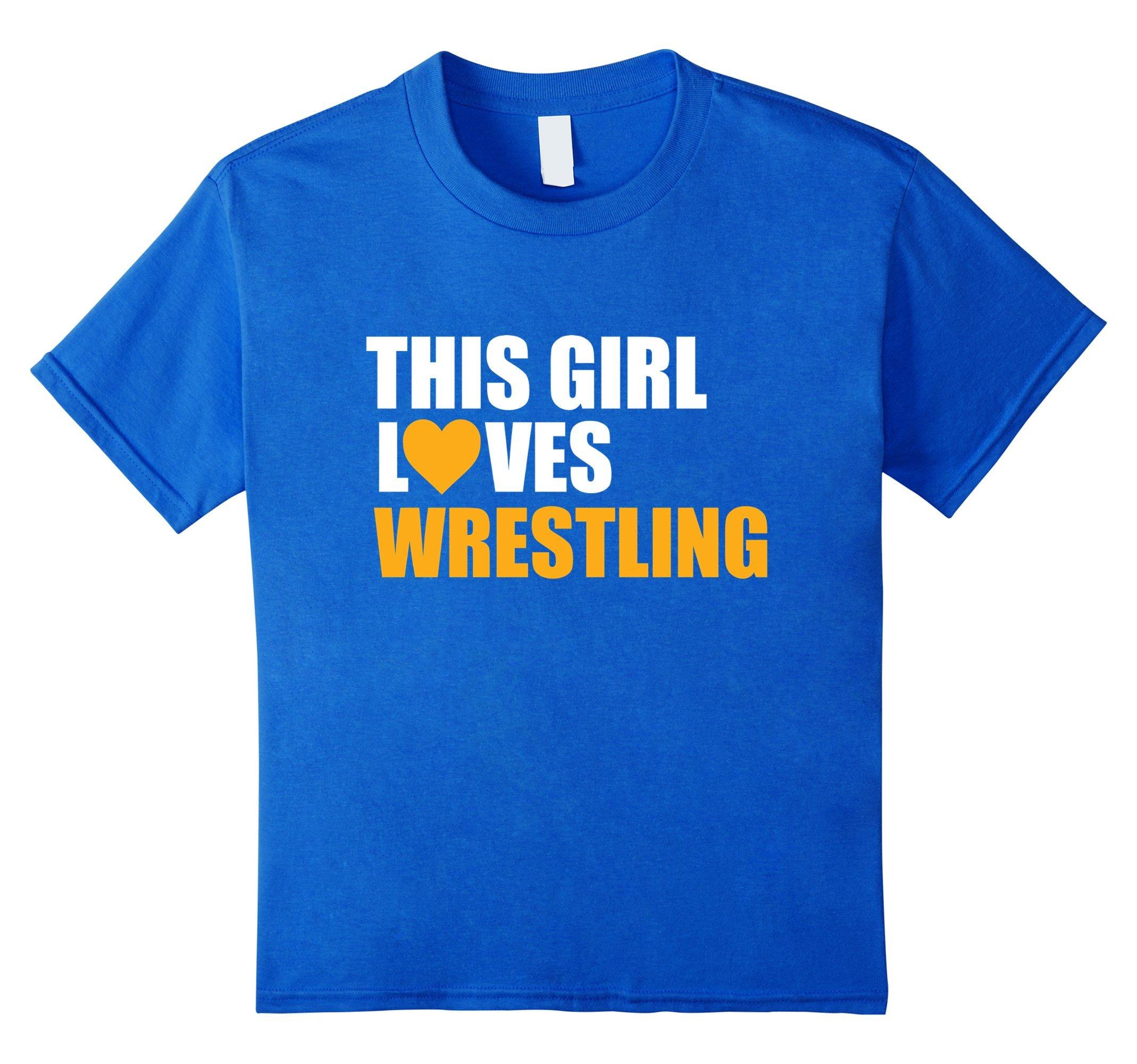 Kids Funny Wrestling Shirt This girl love wrestling 10 Royal Blue