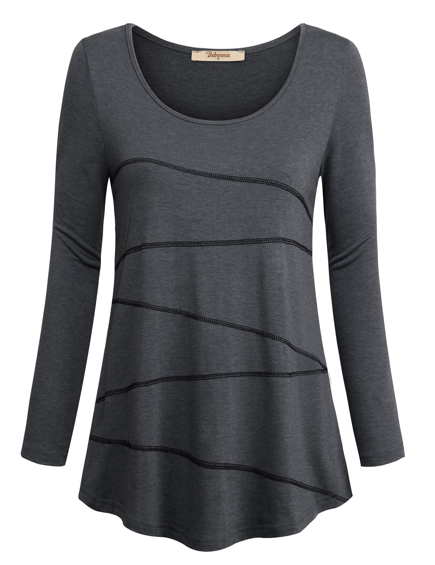 Hong Technology Workout Clothes for Women, Casual Top Stylish Scoop Neck Flare Hem Soft Cozy Business Casual Clothes Daily Wear Black Medium