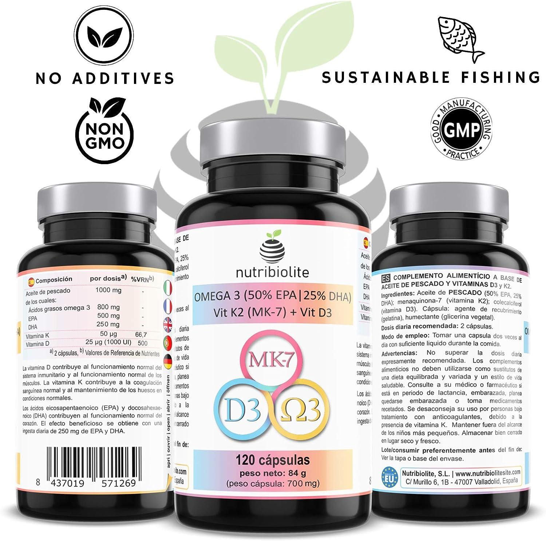 OMEGA 3 + Vitaminas D3 y K2 MK-7 - Capsulas softgel con alta dosis de aceite de pescado rico en ácidos grasos esenciales EPA y DHA + Vitamina D3 colecalciferol y K2