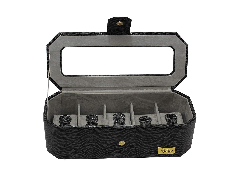 CORDAYS - Estuche Relojero para 5 Relojes con Vitrina de Cristal Joyero Relojero Hombre -Hecho a Mano- en Color Negro CDM-00035