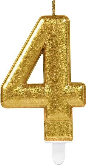 Carpeta Vela de Número, Número 4, en dorado, con Soporte de ...