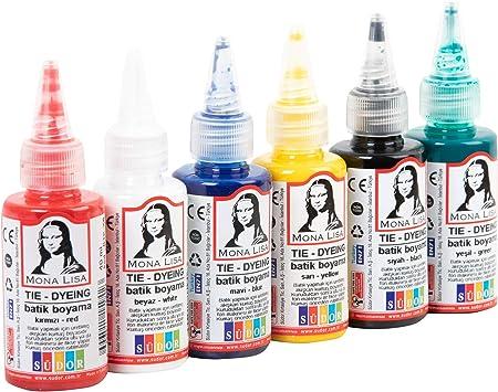SUDOR Monalisa Tie Dye Kit de 6 x 40 ml de colores batik para tejidos y ropa, juego de coloración para niños, adultos y aficionados (colores aticos, 6 ...