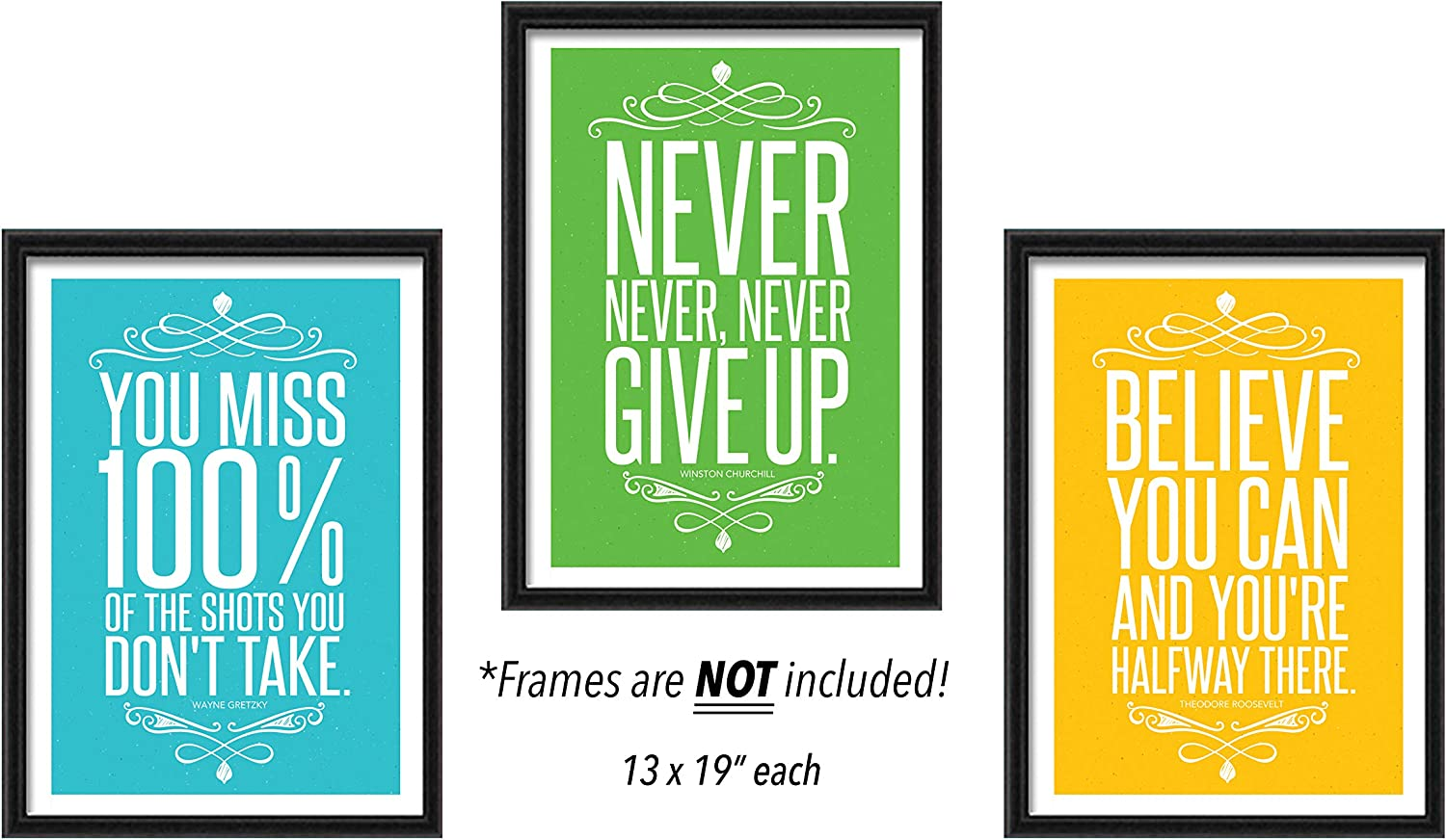 Motivational & Inspirational Sports Quote Home Wall Art Décor (13x19) | Set of 3 Colorful Positive Large Posters for Teenagers, Baby Room, Gym, Classroom, Office, Entrepreneur, Gimnasio | UNFRAMED Great For Mother, Daughter, Sister, Brother, Son, Father, Wife, Husband, Girlfriend, Boyfriend