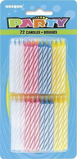 Unique Party Paquete de 72 Velas de cumpleaños, Multicolor ...