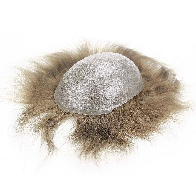 Lordhair 100% Verdadero Color de Pelo Humano # 7 Supper Piel Fina Hombres Toupee Hair Replacement Hair No Quirúrgico Hairpieces: Amazon.es: Belleza