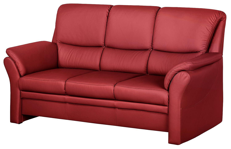 Cavadore 4342 3-Sitzer Klariza, 195 x 102 x 91 cm, Leder Punch feuerrot kombiniert mit Kunstleder, rot