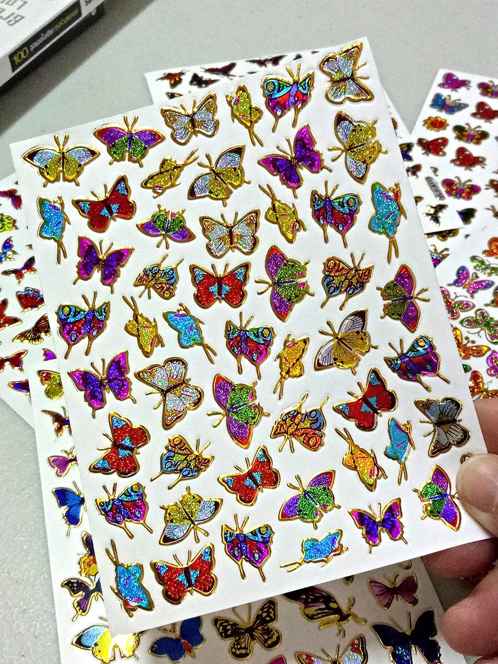 Album Card Birthday Party Diary Butterfly003-6 Different Sheet Butterfly Glitter Gold Metallic Foil Reflective Craft Self-adhesive Sticker Decorative Scrapbook for Kid