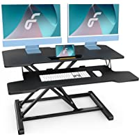 FENGE Height Adjustable Standing Desk 32 Inch/80 cm Dual Monitor Laptop Riser Desk, Sit Stand Computer Workstation with…