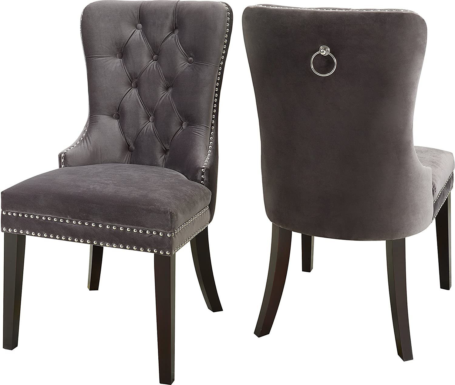Meridian furniture 740grey c nikki grey velvet dining chair with wood legs luxurious button tufting and chrome nailhead trim 23 w x 23 d x 40 h grey