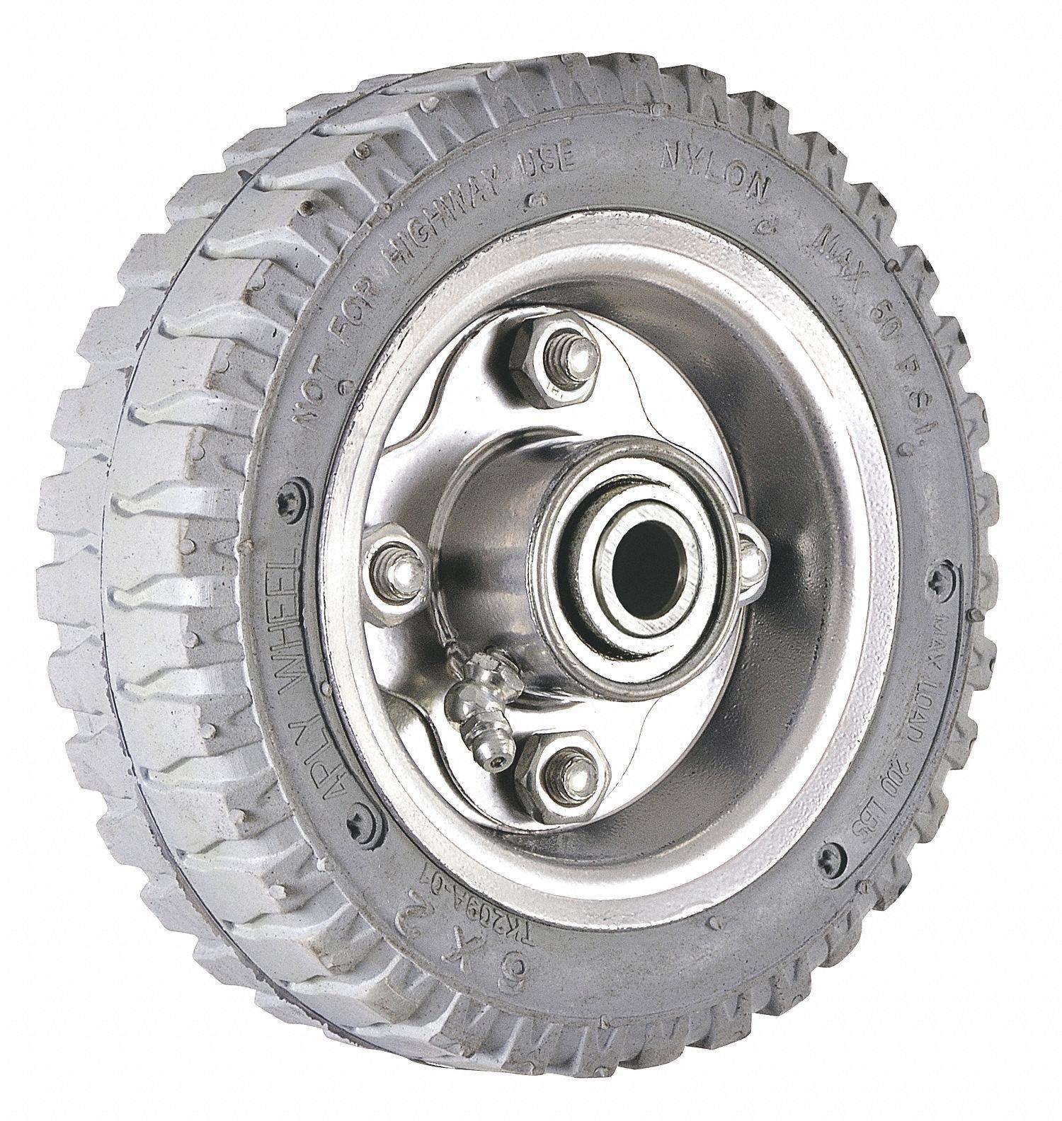 6'' Light-Duty Centipede Tread Pneumatic Wheel, 200 lb. Load Rating