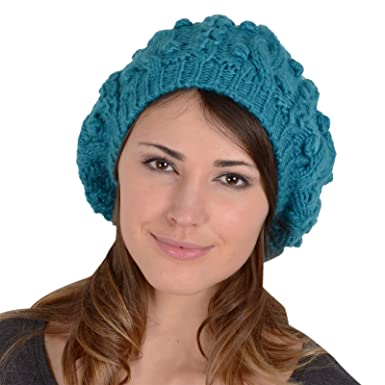 cab0551141d Sierra Beret Hat Chunky Cable Knit Pom Pom Bobble Winter Accessory Teal Blue   Amazon.co.uk  Clothing