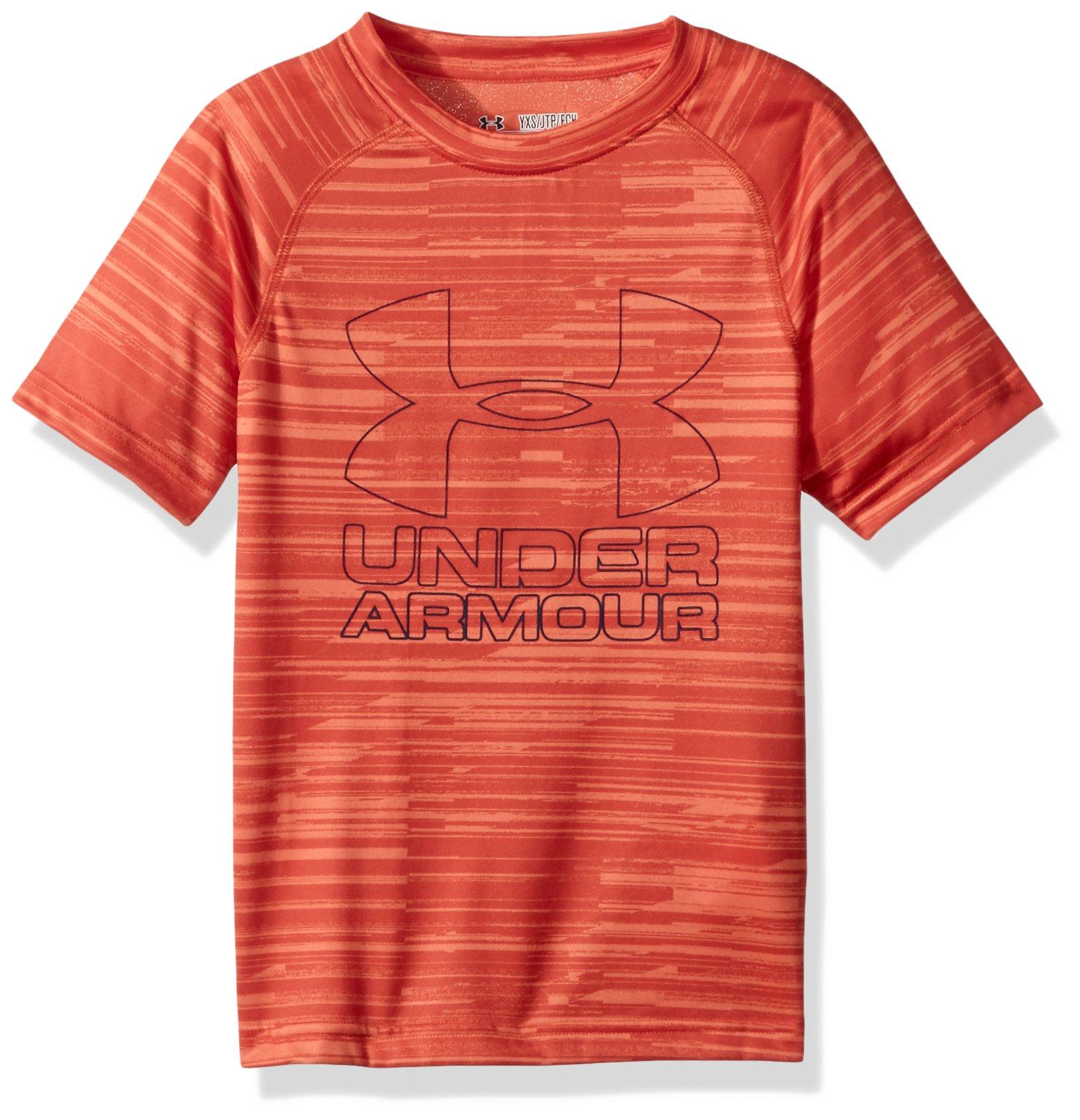 Under Armour Boys Big Logo Printed T-Shirt,Dark Orange /Blackout Navy, Youth X-Small