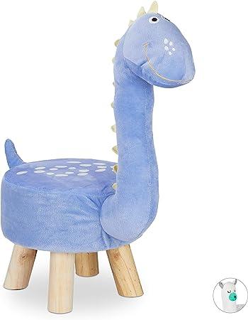 Pouf da Cameretta Fodera in Peluche Relaxdays Dinosauro Sgabello a Forma Bambini gommapiuma Pannelli MDF 57 x 28 x 57 cm Blu Poliestere Giocattolo