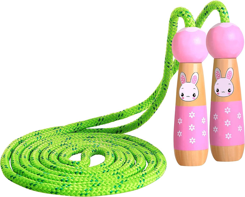 KONVINIT Cuerda para Saltar Skipping Rope Ajustable con Mango de Madera para niños, Longitud de 102 Pulgadas Adecuado para el Juego Escolar o Actividad al Aire Libre
