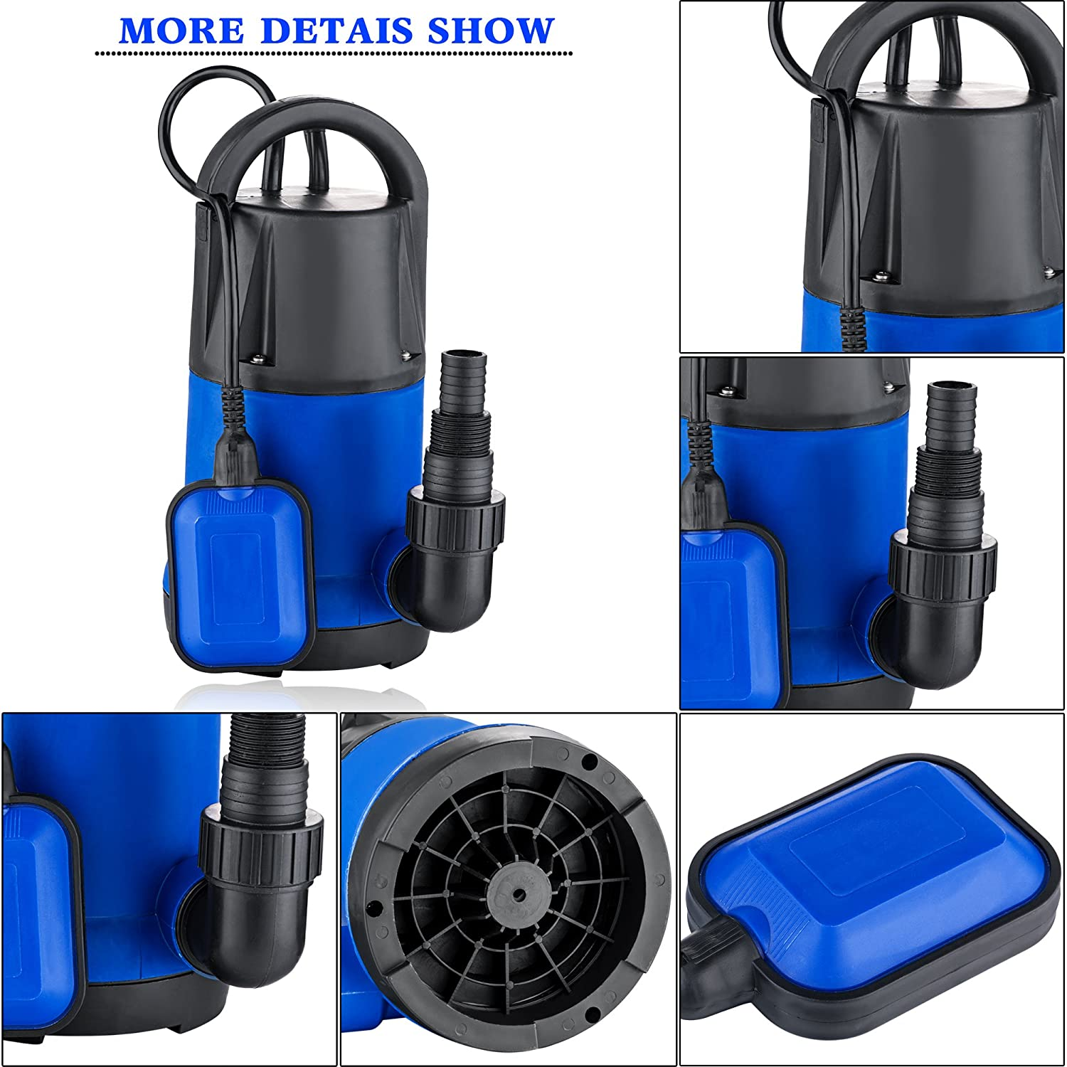 1//2 HP Submersible Sump Pump 400W Dirty Clean Water Pump 2115GPH w// 15ft Cable and Float Switch