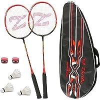 Philonext Lot DE 2 Raquettes de Badminton, Raquette de Badminton Légère en Alliage de Carbone, 2 Raquettes de Badminton avec 2 Raquettes/1 Sac de Transport