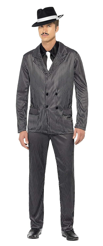 SmiffyS 23687L Disfraz De Gánster Chaqueta De Raya Diplomática Y Pantalones, Pechera De Camisa Y Corbata, Negro, L - Tamaño 42