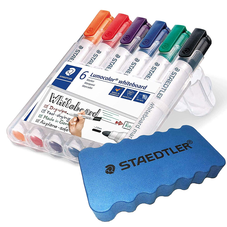 1 Etui + Whiteboardschwamm 2 mm Linienbreite Rundspitze ca Staedtler Lumocolor 351 WP6 Whiteboard-Marker Set mit 6 Farben