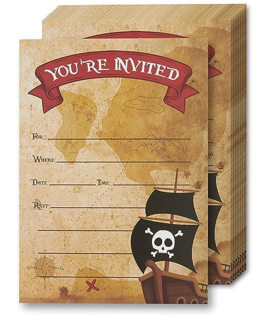 Tarjetas De Invitación De Pirata Juvale 24 Invitaciones Con Sobres Para Fiesta De Cumpleaños De Niños Y Fiesta Temática 5 X 7 Pulgadas Estilo