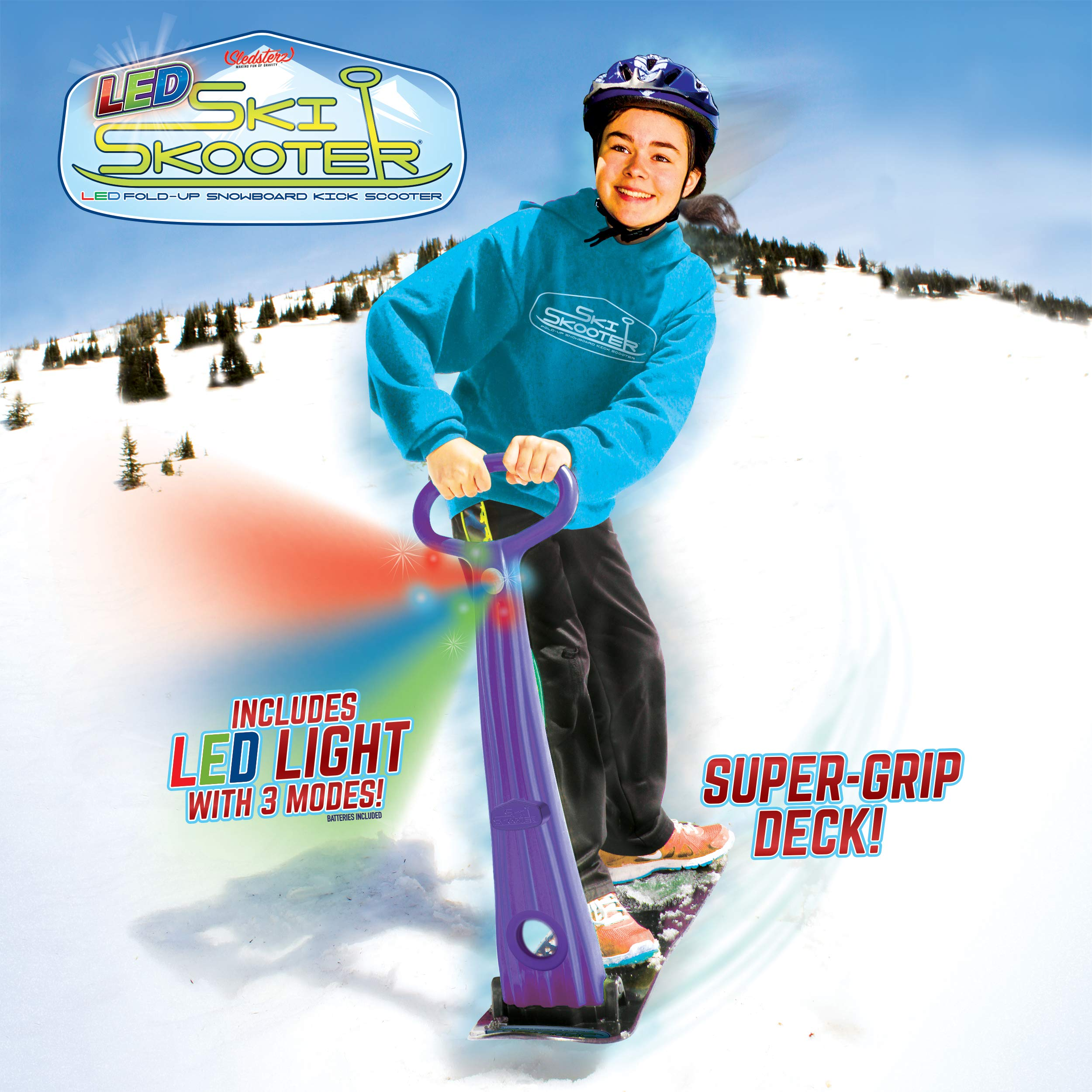 GeoSpace Original LED Ski Skooter: Fold-up Snowboard Kick-Scooter for Use on Snow and Grass, Assorted Colors (Red, Green, or Blue) by Geospace