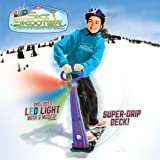 Geospace Original LED Ski Skooter: Fold-up Snowboard Kick-Scooter for Use on Snow, Assorted Colors (Red, Purple or Blue)