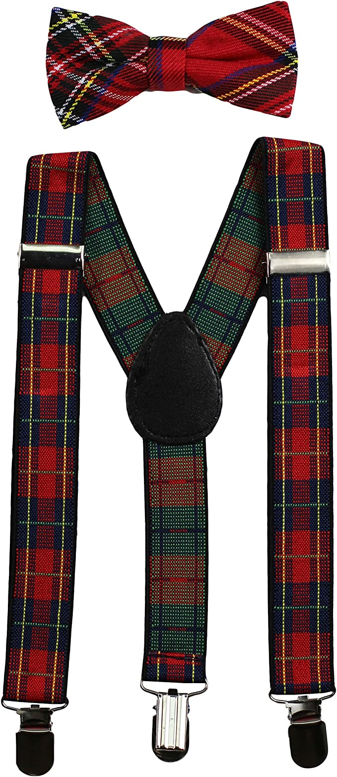 Red Plaid Tartan Suspenders /& Bow Tie Matching Set Baby Toddler Kids Wedding