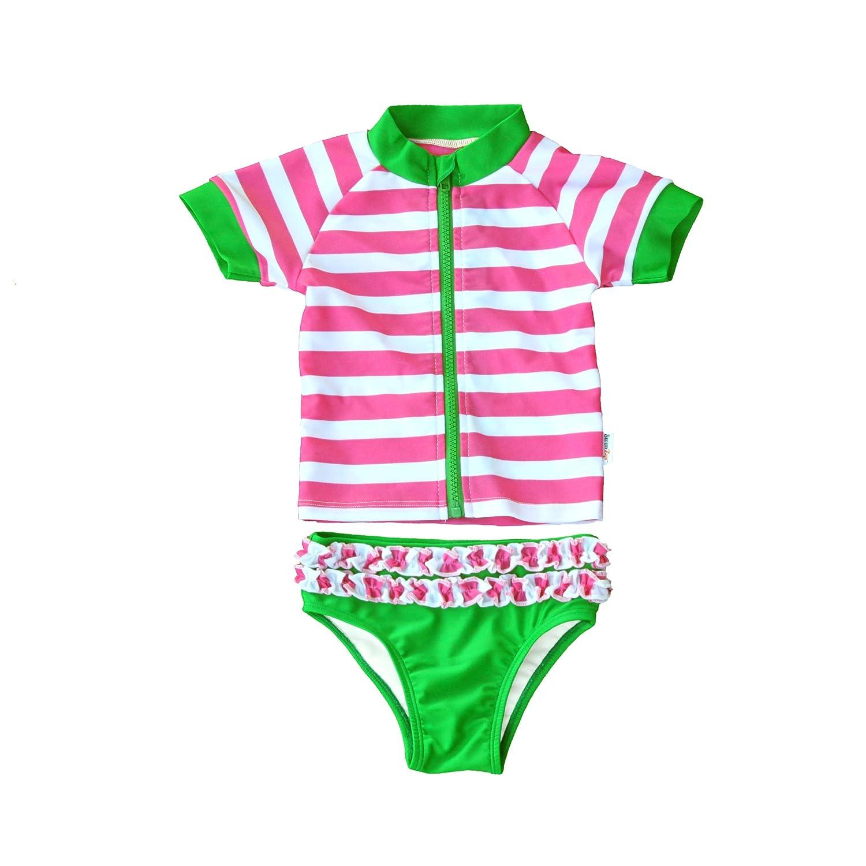 10d2d94051 Amazon.com: SwimZip Sassy Surfer - Newborn Rash Guard Swimsuit Set With SPF  by: Clothing