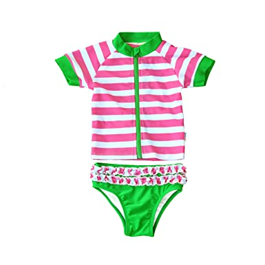 731bfad15a Amazon.com: SwimZip Sassy Surfer - Newborn Rash Guard Swimsuit Set ...