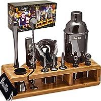 Black 23-Piece Bartender Kit Cocktail Shaker Set by BARILLIO: Stainless Steel Bar Tools With Sleek Bamboo Stand, Velvet…