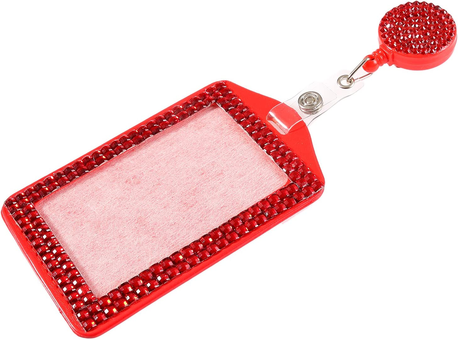 Vertical Card Holder for Business Id Card Purely Handmade Fashion Red Bling Crystal Lanyard Cute Rhinestone Badge Reel