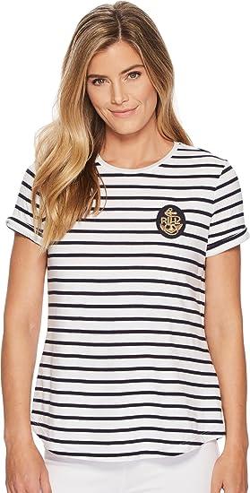 2cffa68cc75f3 Lauren by Ralph Lauren Women s bullion-Patch Striped T-Shirt White Navy X
