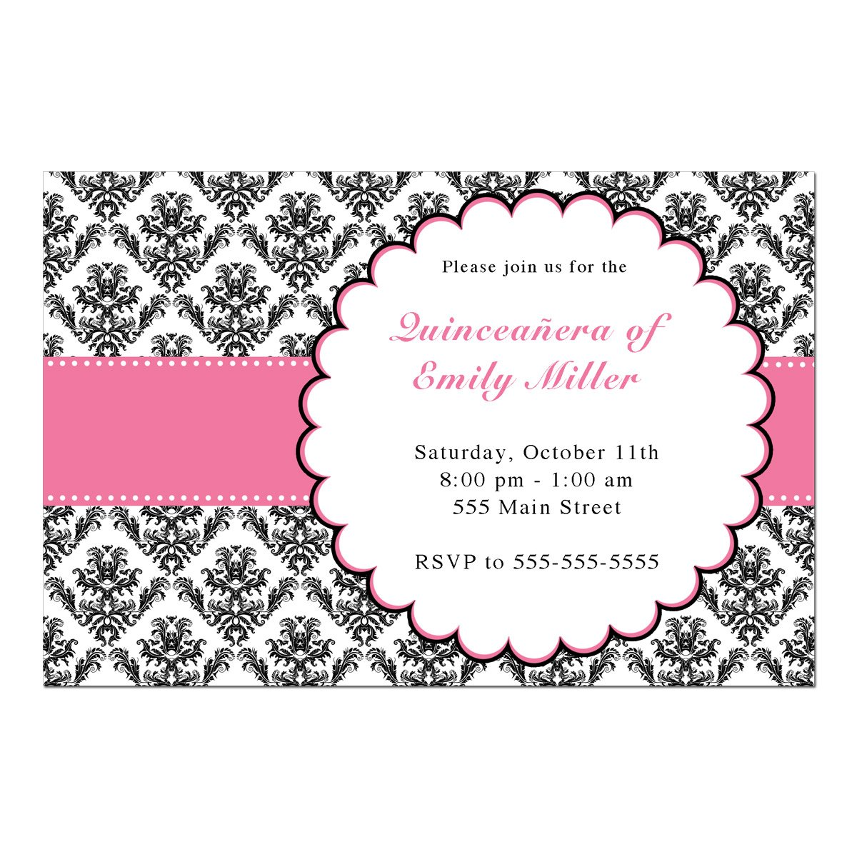 50 Invitations Sweet 16 15 Quinceañera Birthday Party Personalized Cards Blue Confetti Dress + 50 White Envelopes