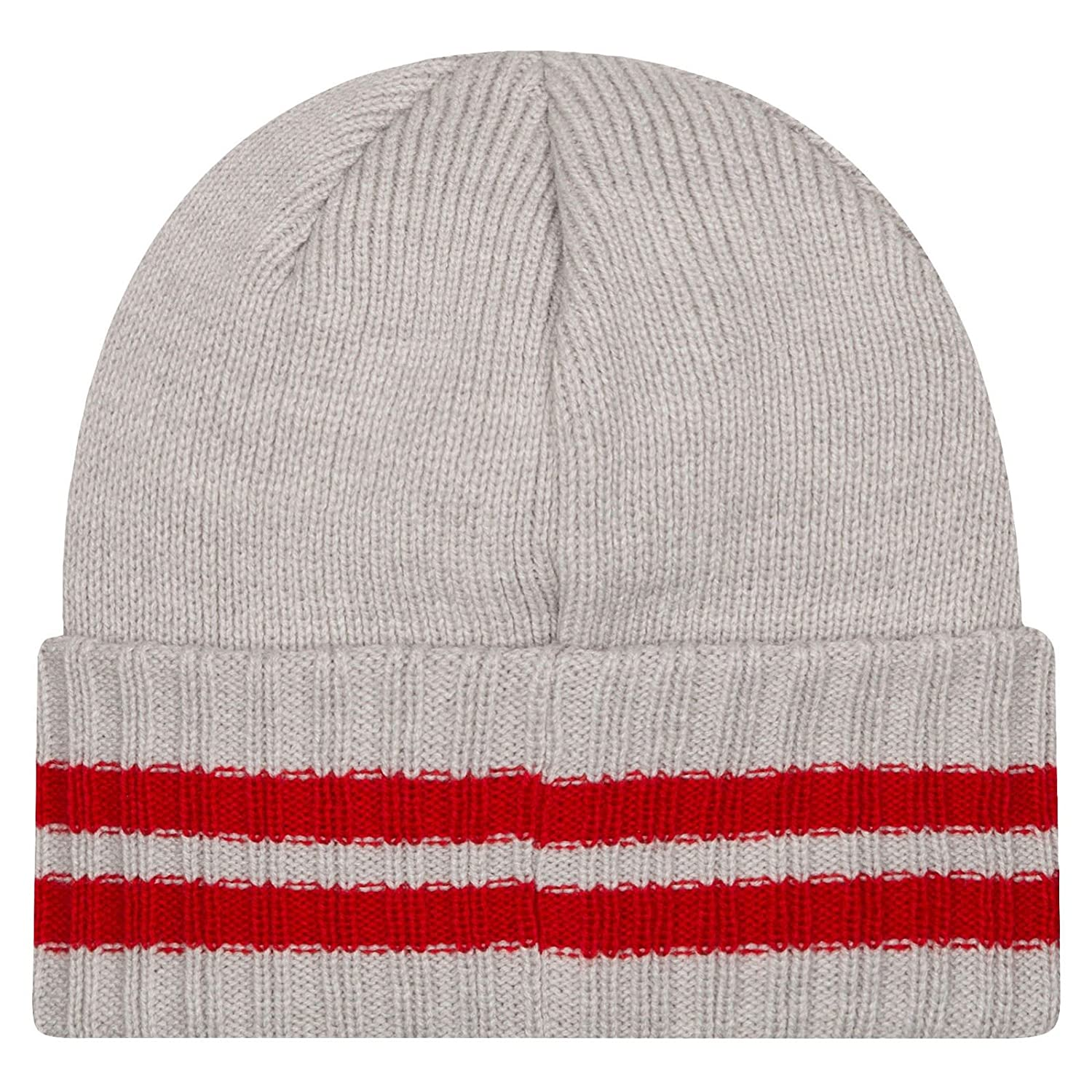 Amazon.com  New Era Kid s Youth Chicago Bulls Windy City 2 Striped Cuffed  Knit Beanie Grey Red  Clothing 8e190936db5