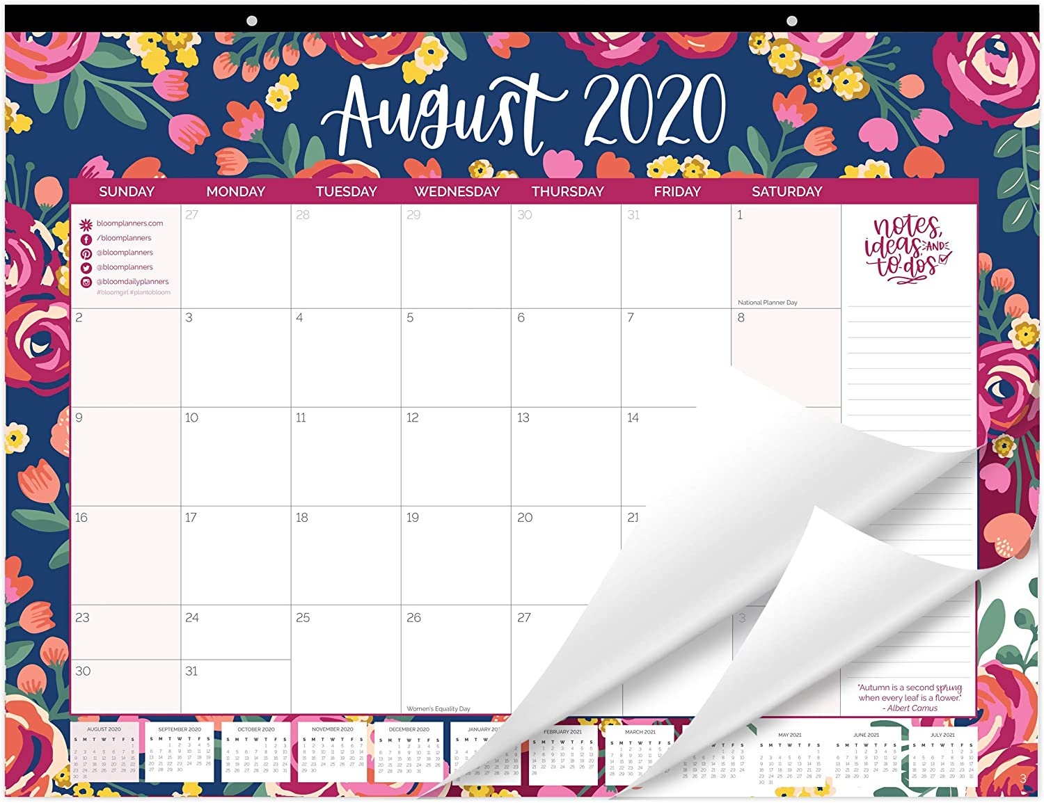 "bloom daily planners 2020-2021 Academic Year Desk/Wall Monthly Calendar Pad (August 2020 - July 2021) - Large 21"" x 16"" Hanging or Desktop Blotter - Vintage Floral"