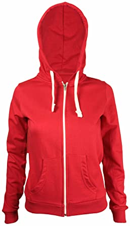 outlet for sale first look hot sale online Neuf Pour Femmes Front Sweat Capuche Fermeture Éclair À Manches Longues  Femmes Sweat-shirt Uni Capuche Polaire Veste Capuche - Rouge, EU 42